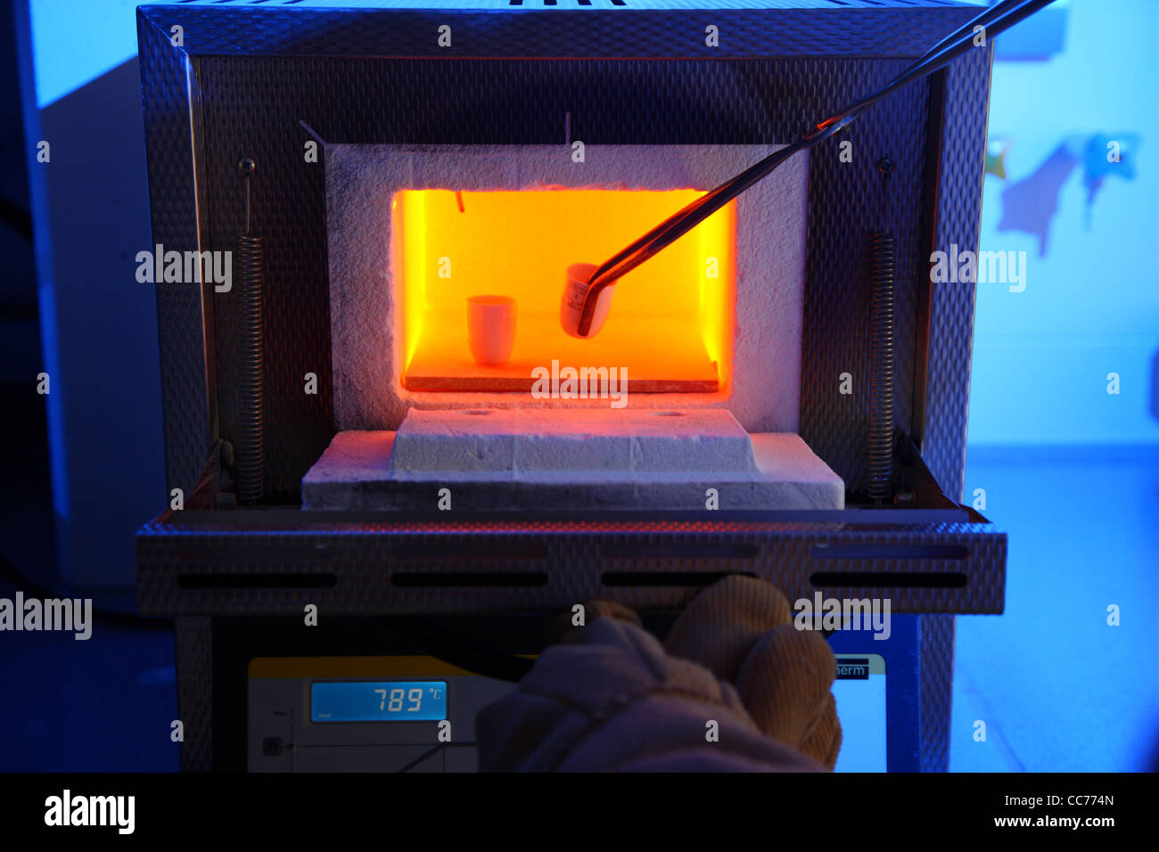 High temperature melting oven, for use in science laboratory's. To heat up samples from chemical experiments up Stock Photo