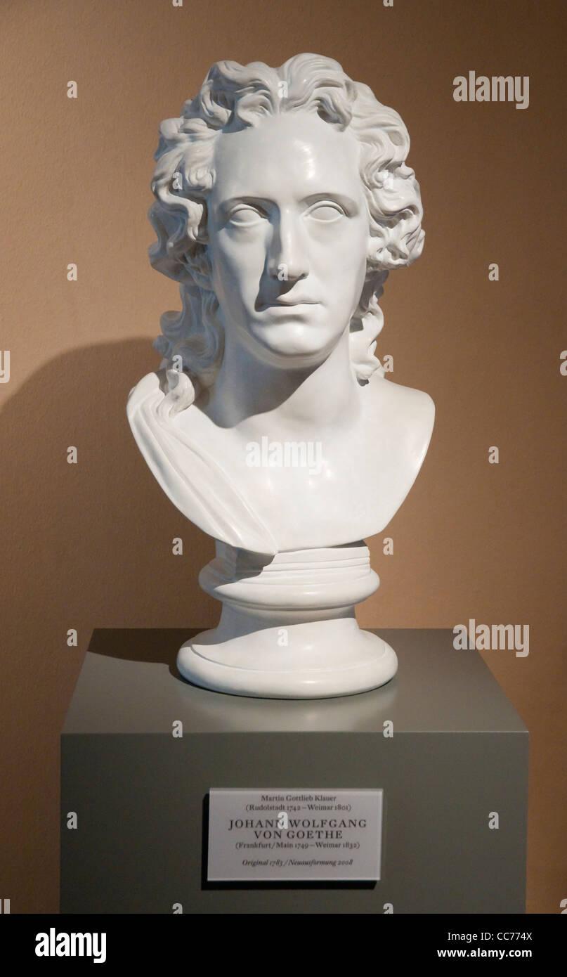 Bust of Johann Wolfgang von Goethe in the Schillerhaus museum,  Rudolstadt, Thuringia, Germany, Europe - Stock Image