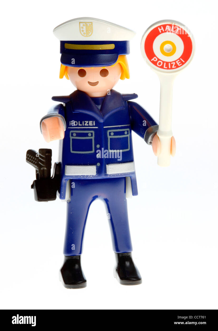 Stop police. Playmobil figure, toy. Police control, speed control, symbol picture. Stock Photo