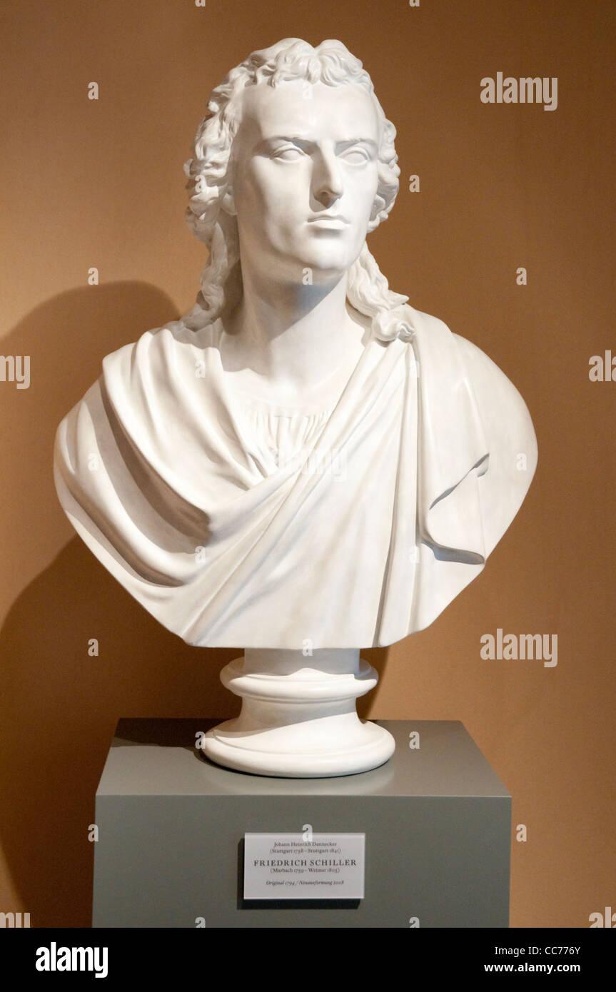 Bust of Friedrich Schiller in the Schillerhaus museum, Rudolstadt, Germany - Stock Image