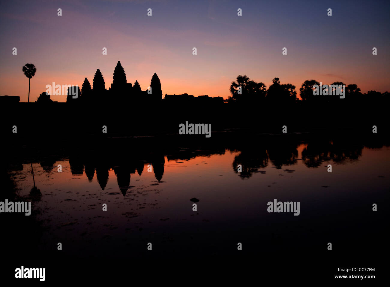Sunrise at Angkor Wat, Angkor area, Siem Reap, Cambodia, Asia. The world's largest religious building - Stock Image