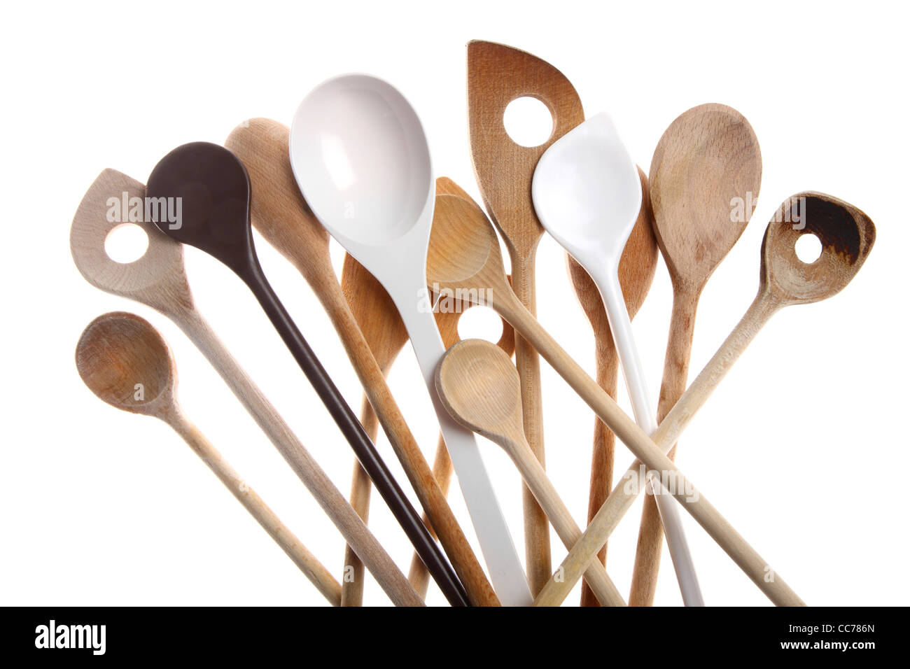 Various Types Of Cooking Spoons, Wooden Spoons. Kitchen Devices.