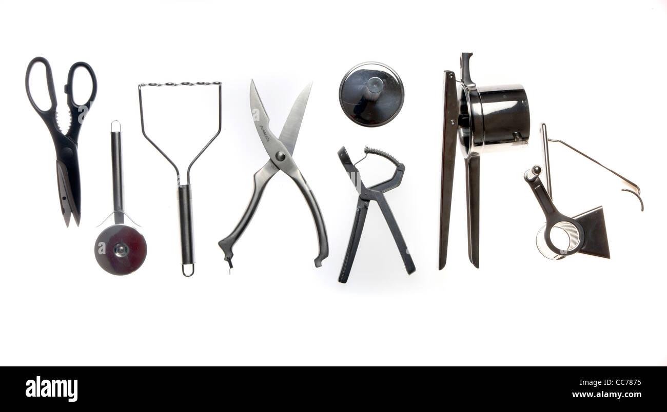 Compilation of various kitchen utensils, kitchen tools. - Stock Image