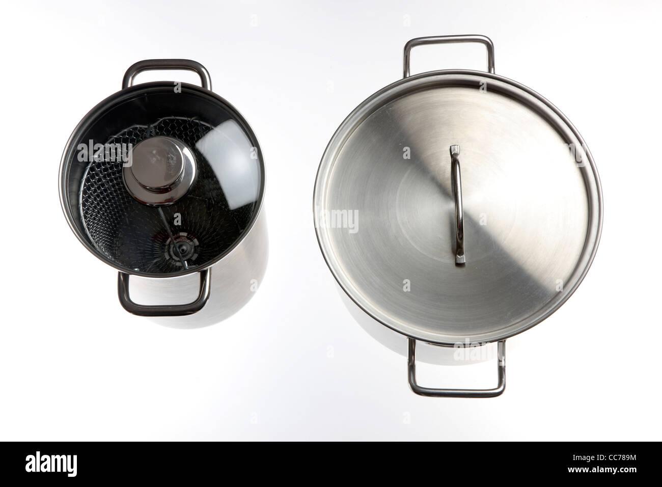 Compilation of various kitchen utensils, kitchen tools. Pots. - Stock Image