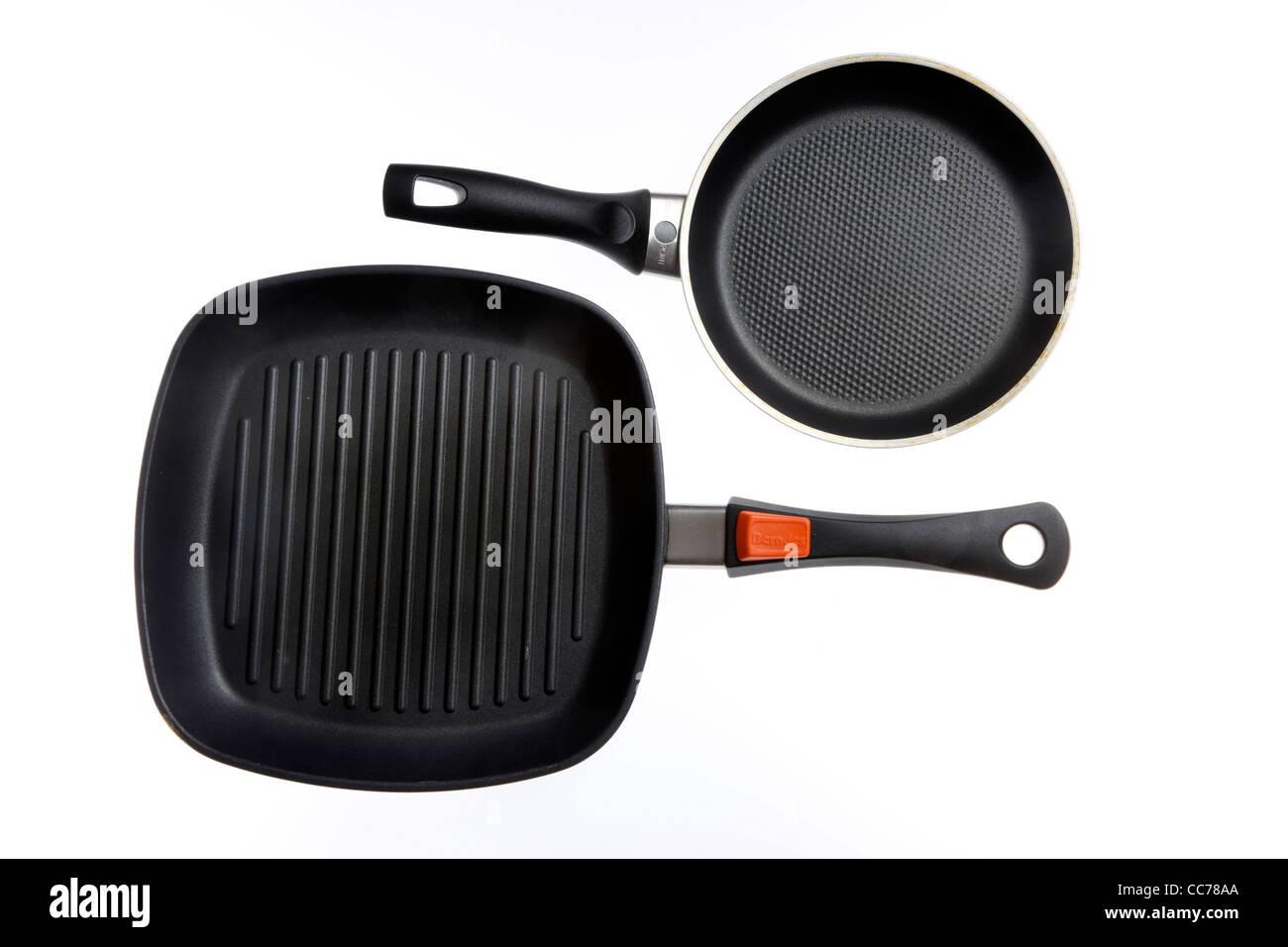 Compilation of various kitchen utensils, kitchen tools. Teflon pans. Steak pan. - Stock Image