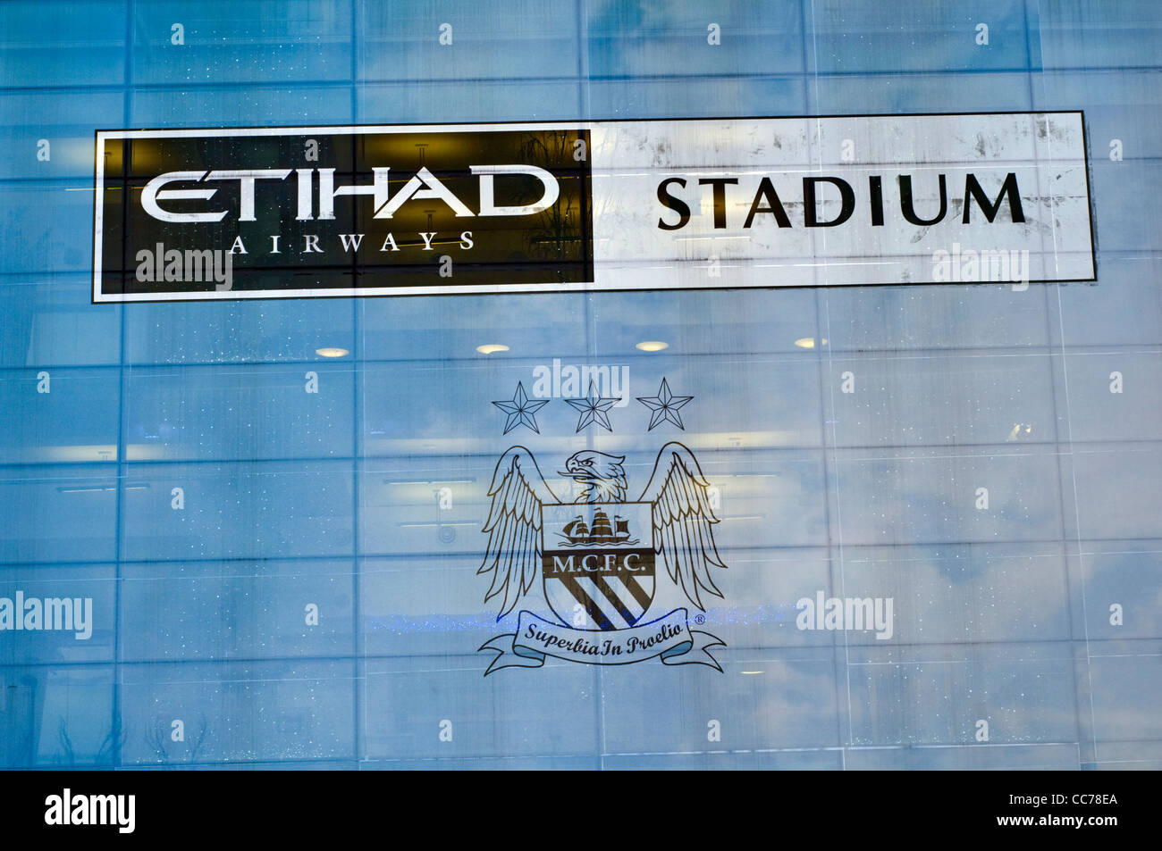 Manchester City football club's Etihad stadium in England, formerly known as Eastlands - Stock Image