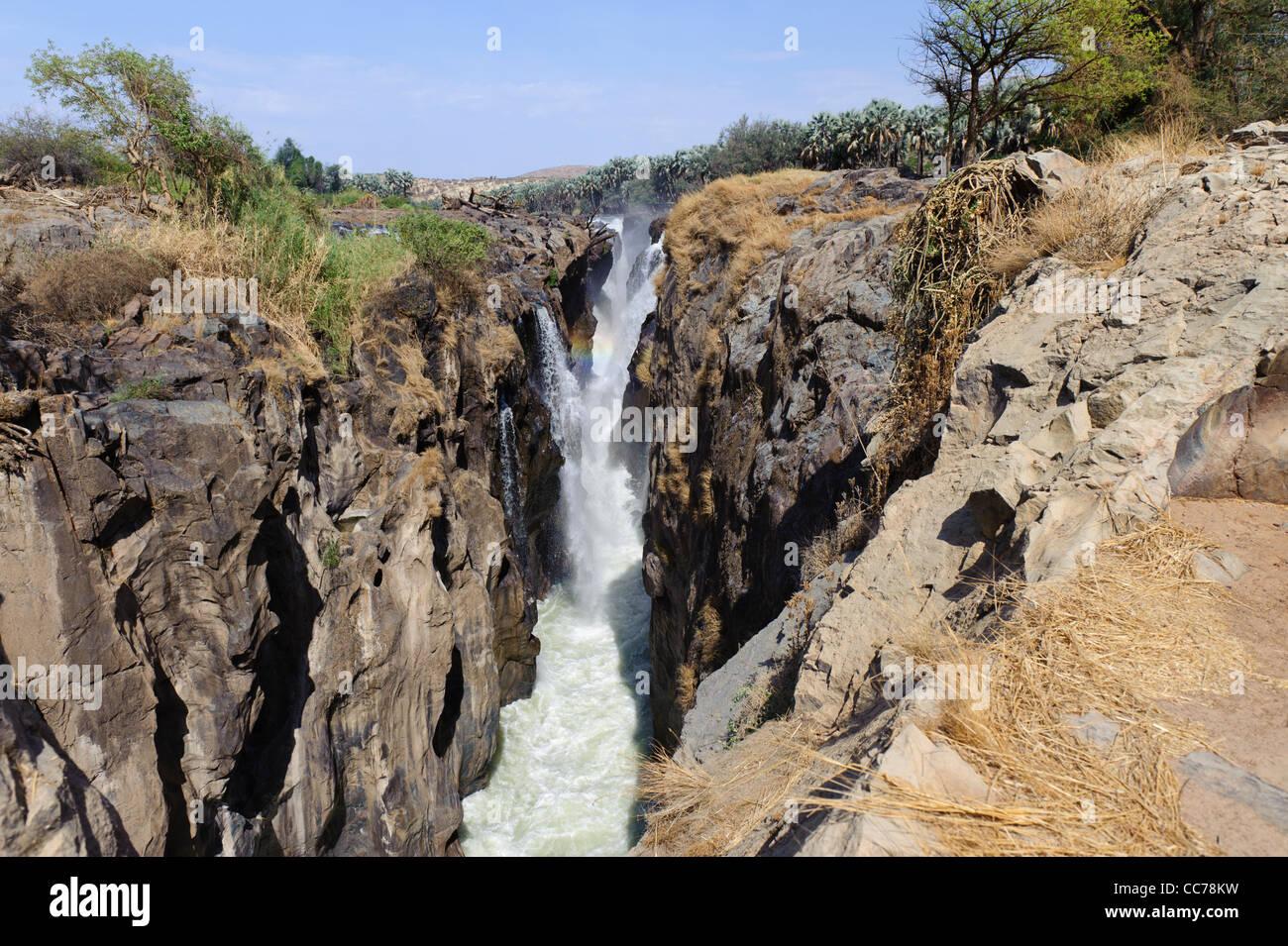Epupa Falls in November. Kunene Region Kaokoland, Namibia. - Stock Image