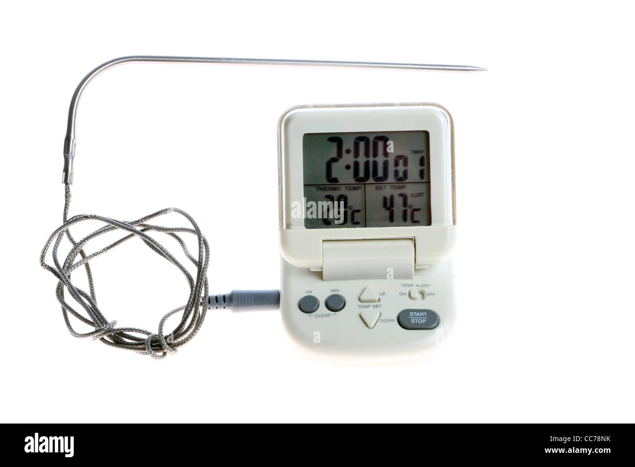 Digital frying thermometer, kitchen utensils, kitchen tools. - Stock Image