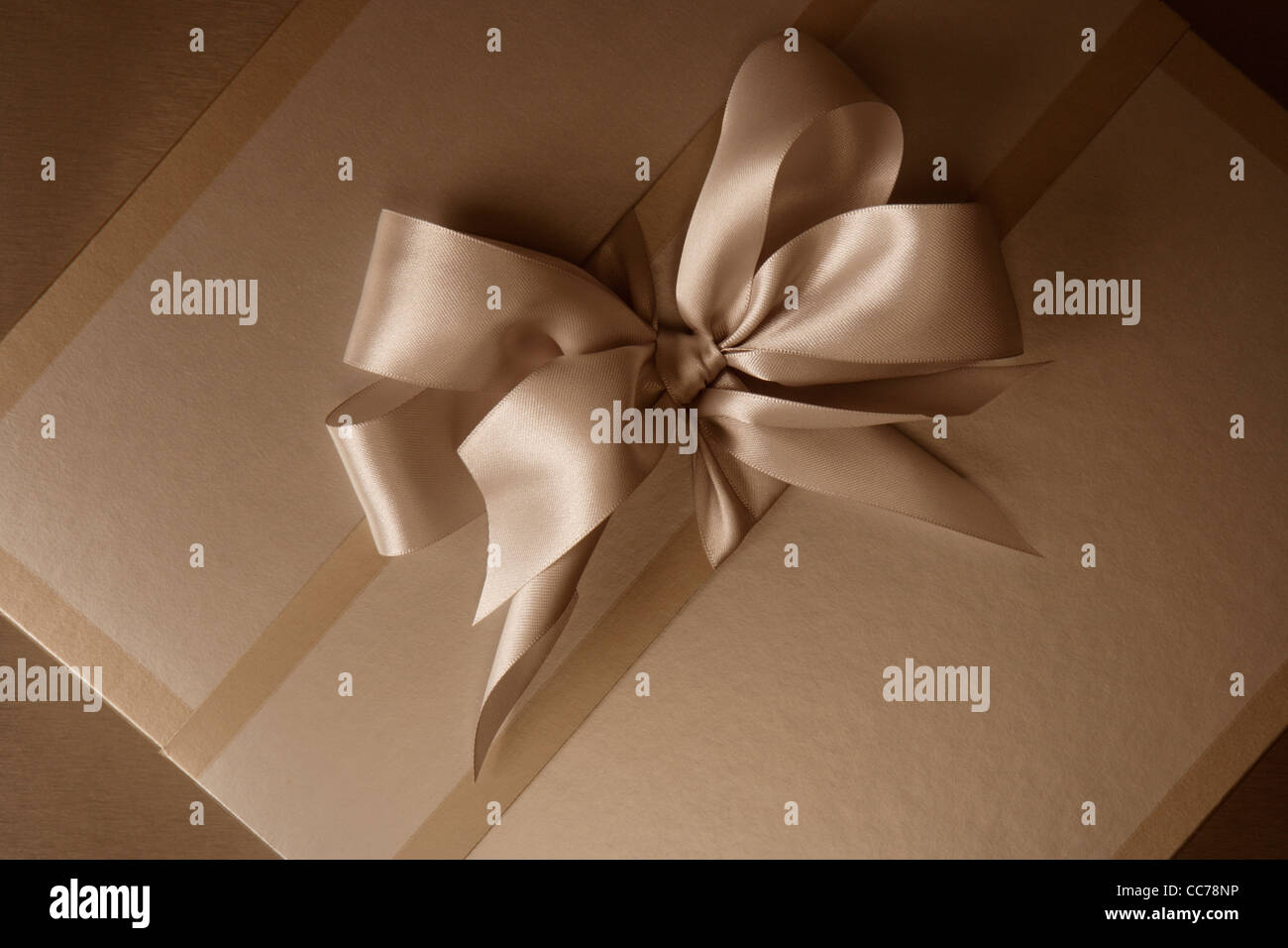 Elegant gift box in sepia tone with beautiful bow - Stock Image