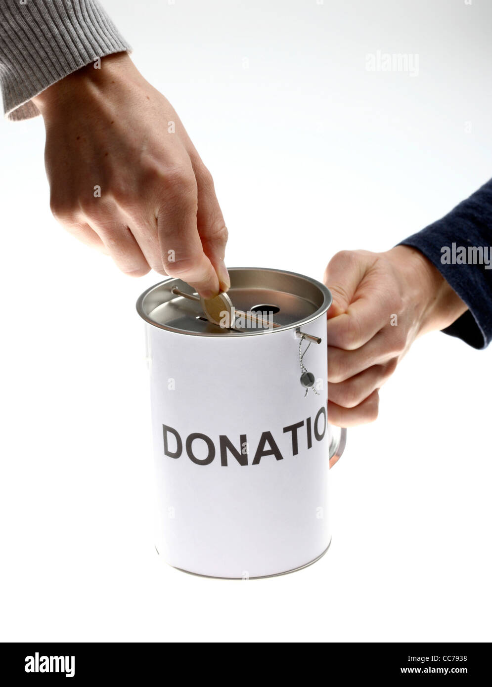 donation can collecting money for charity stock photo 41957420