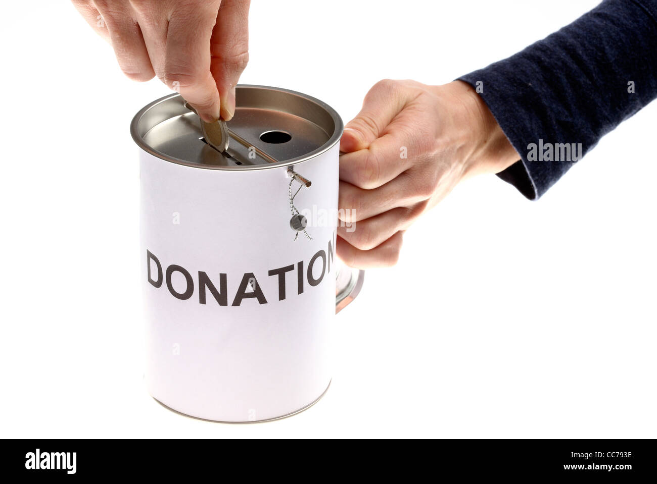 donation can collecting money for charity stock photo 41957426