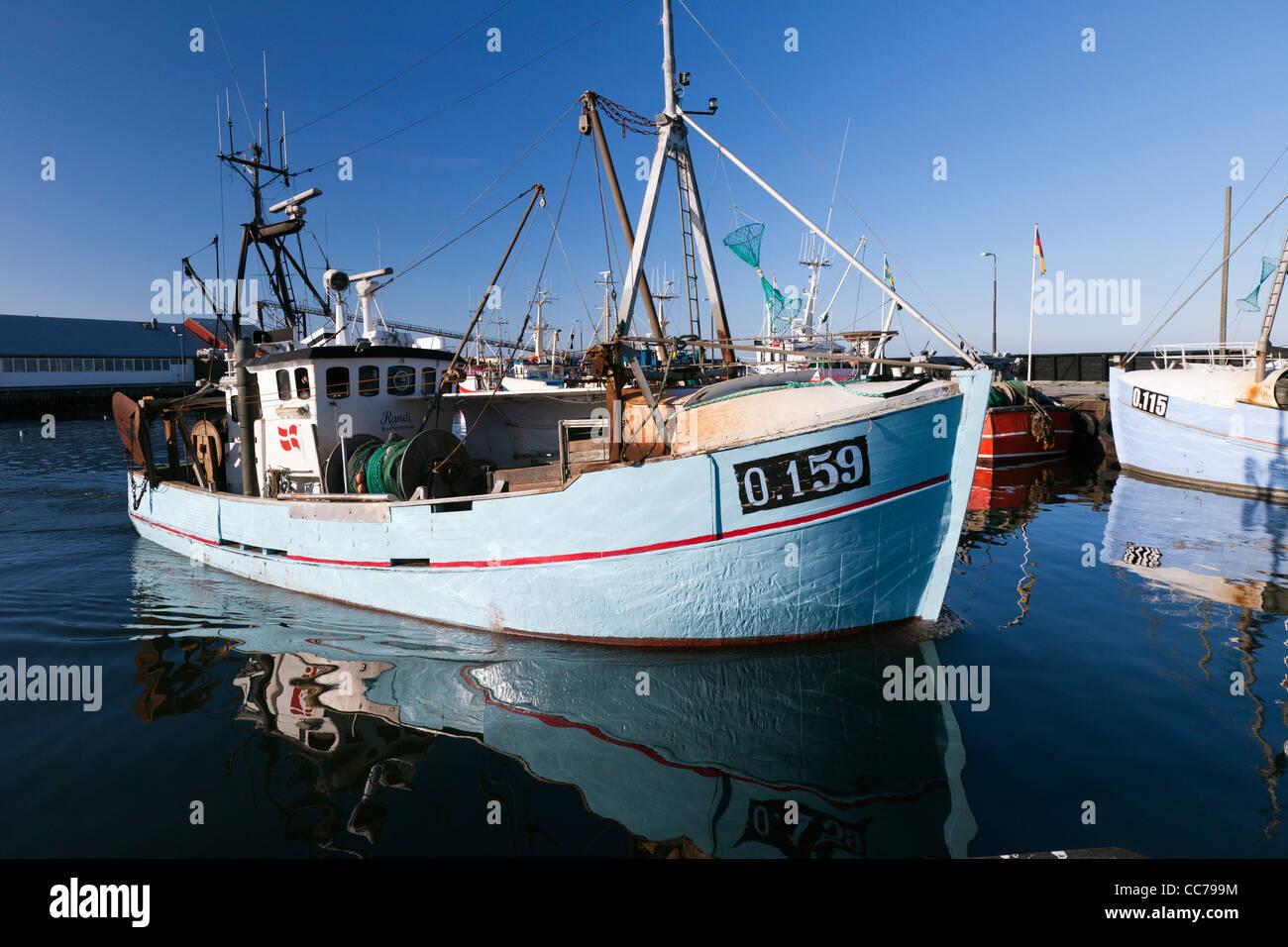 Fishing Boat, leaving the Harbour, Gilleleje, Sjaelland, Denmark Stock Photo