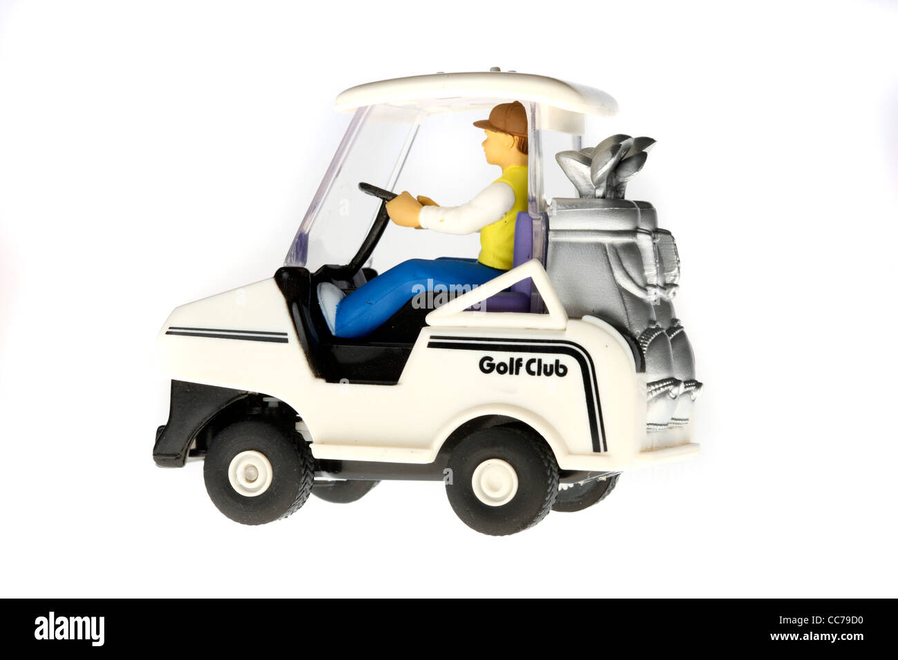 Golf cart, toy for kids, remote controlled, driven by batteries. Golf souvenir. - Stock Image