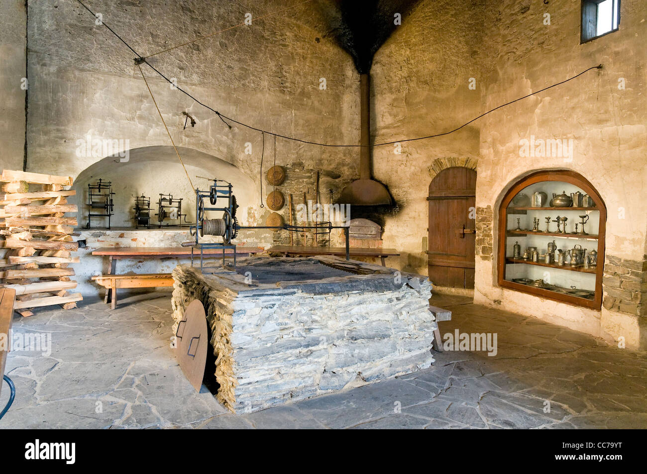Medieval Castle Kitchen Museum Burgk Thuringia Germany Europe