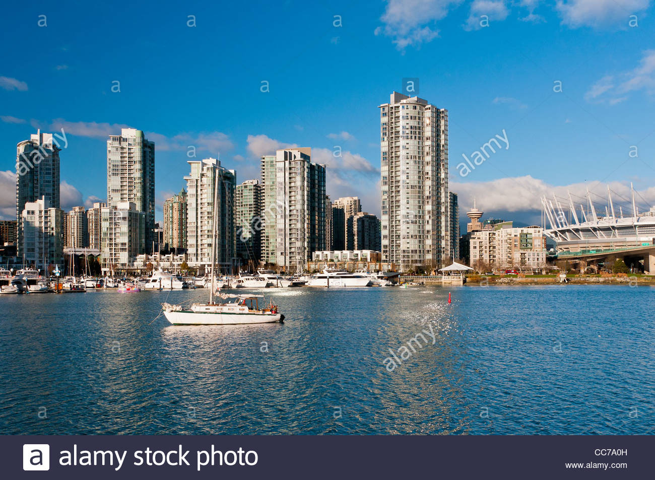 Panoramic view from Granville Island over downtown condos in Vancouver, British Columbia, Canada - Stock Image