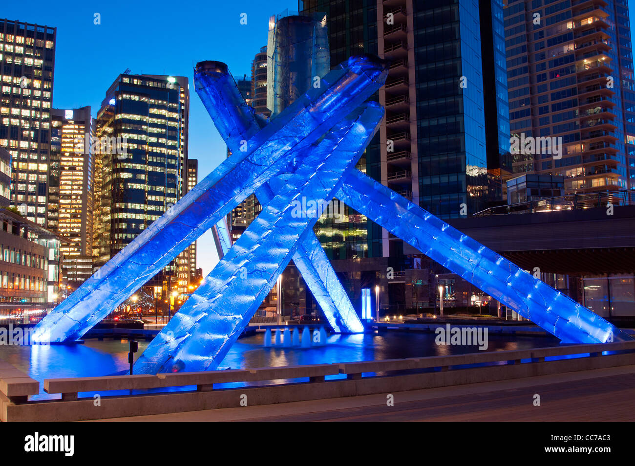 Vancouver 2010 Winter Olympic Games cauldron at night ...