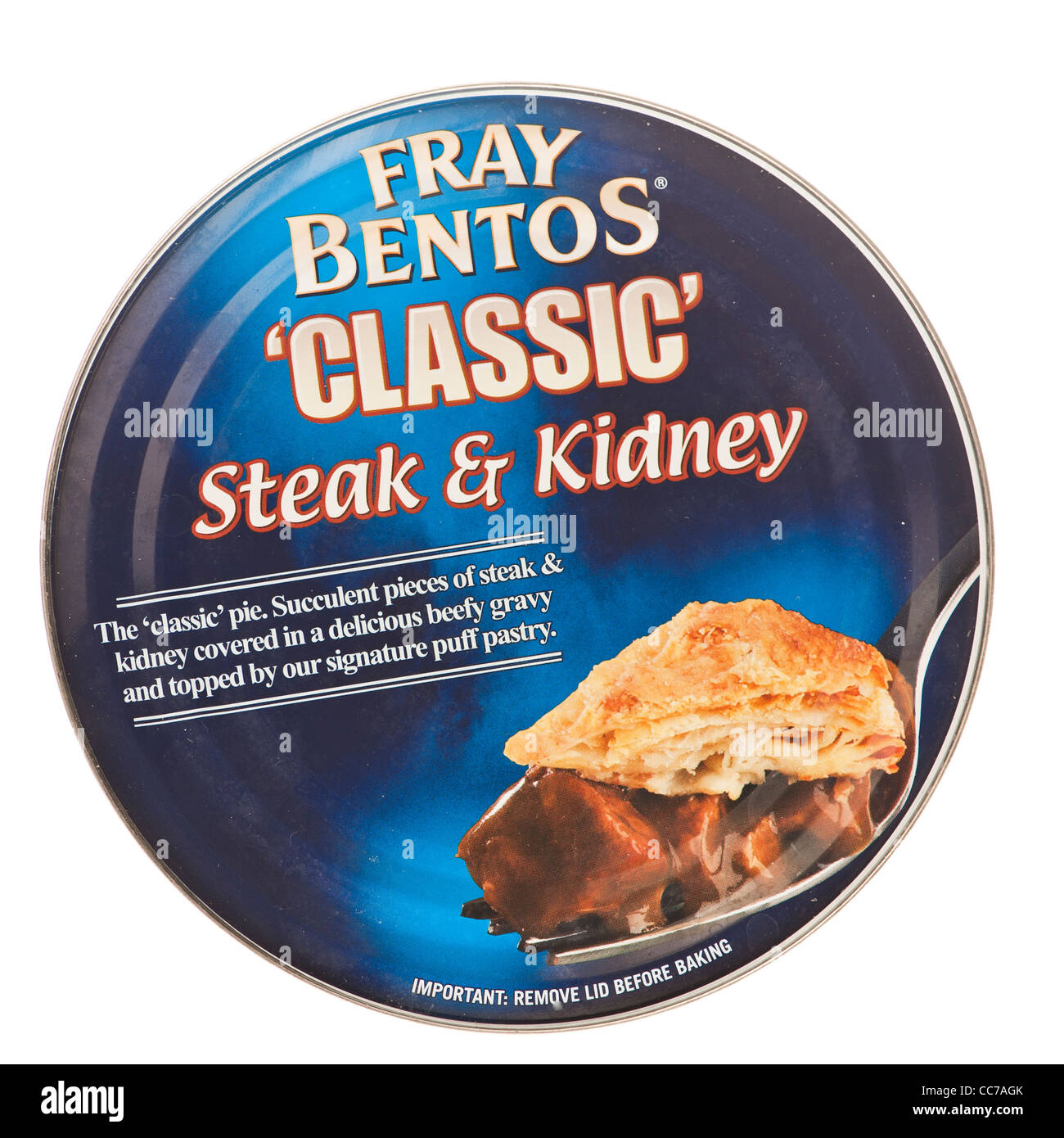 a tin can  Fray Bentos 'classic' steak and kidney pie, UK - Stock Image