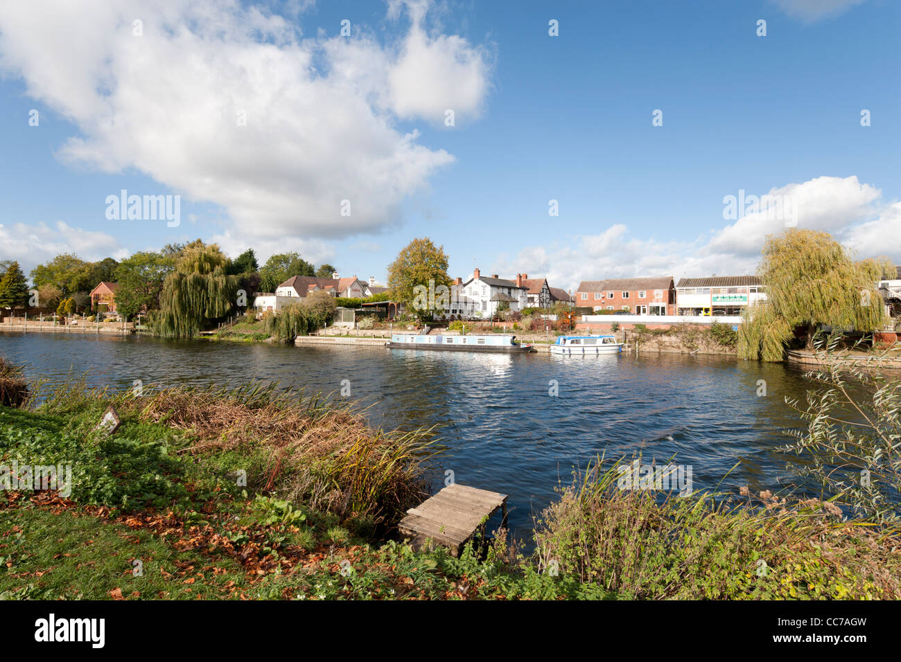 A view across the River Avon, Bidford-on-Avon, Warwickshire, England, UK Stock Photo