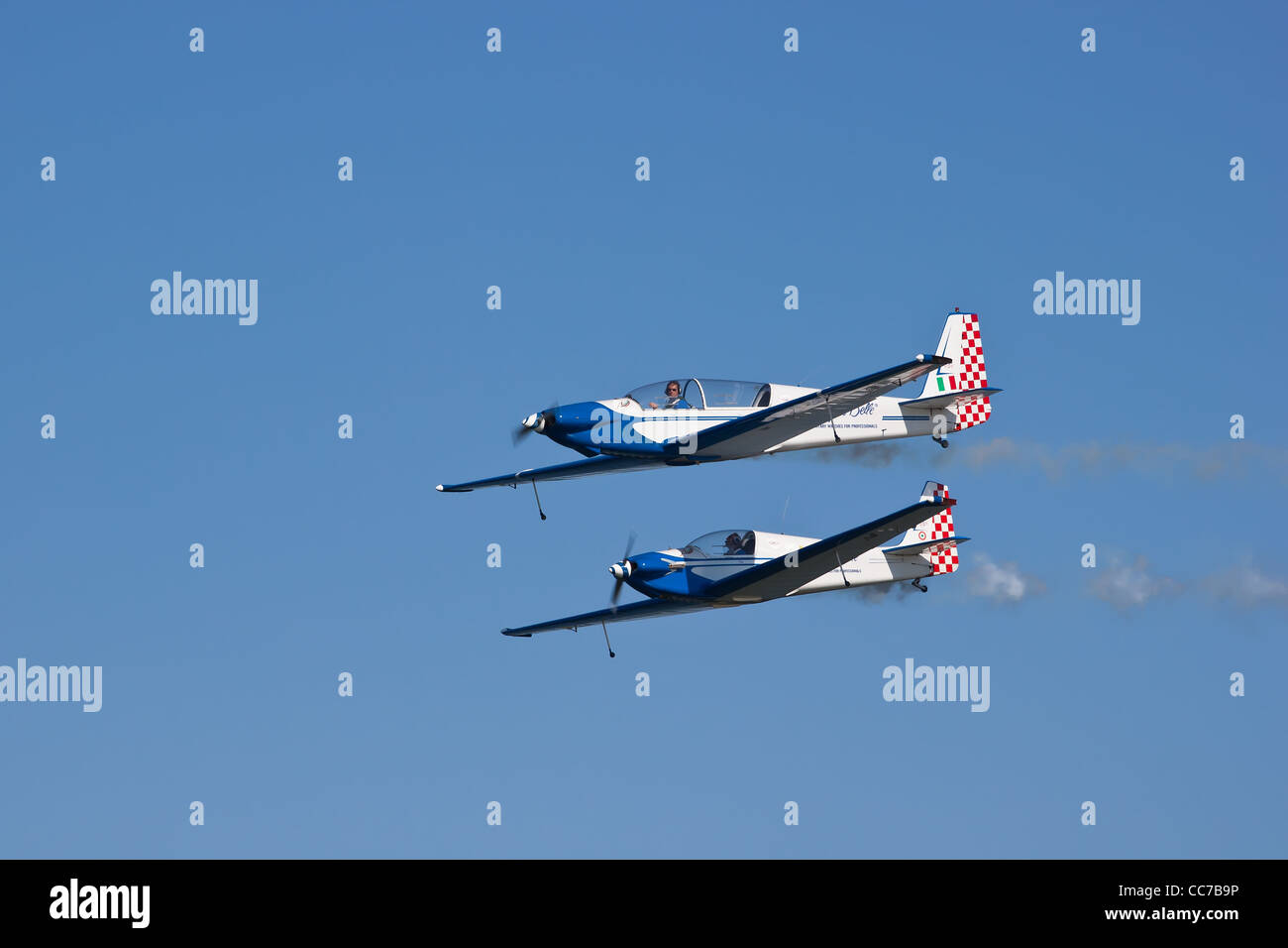 Fournier RF-3 and RF-5 during an exhibition in an airshow - Stock Image