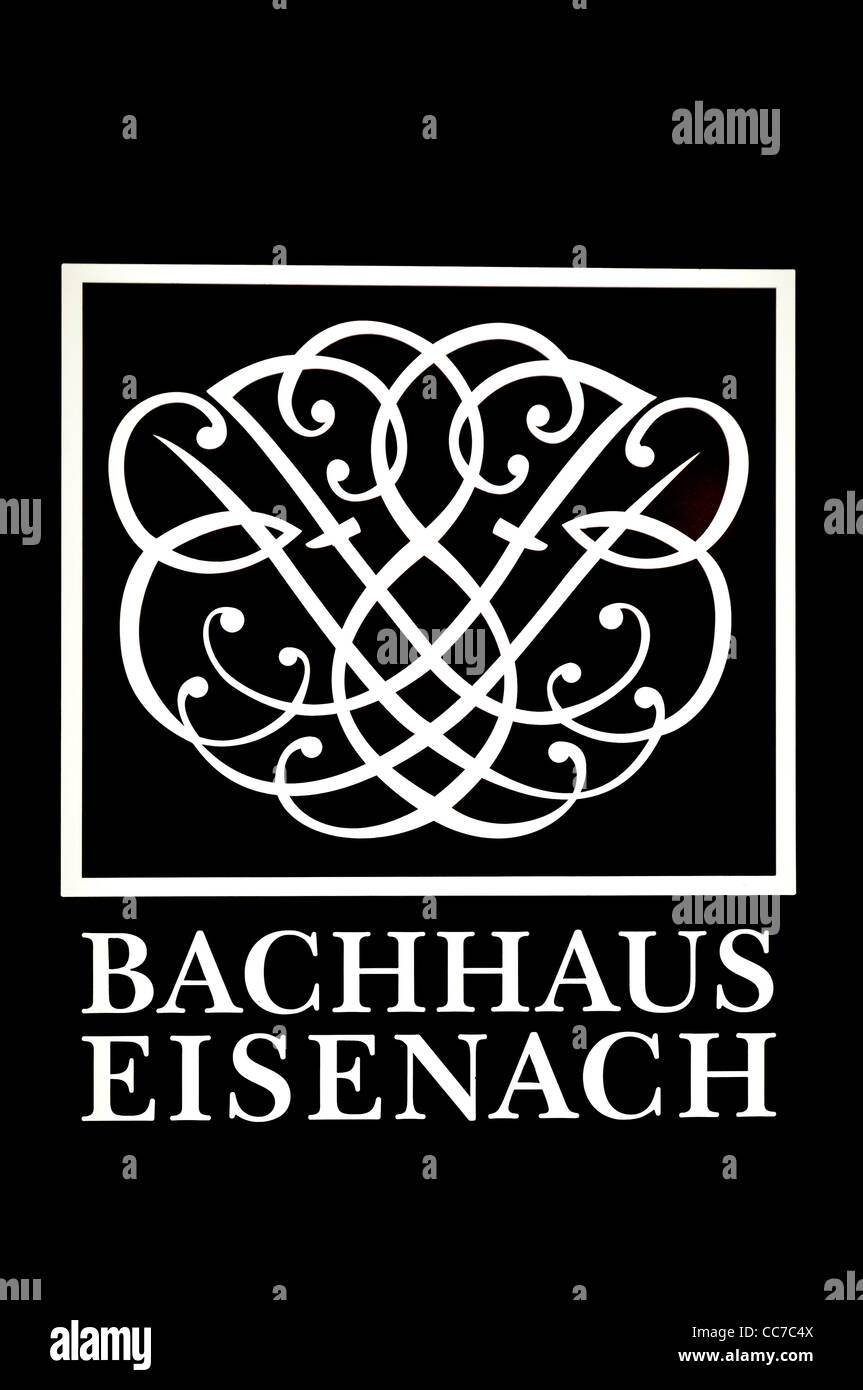 Logo Bachhaus Eisenach, museum for the composer Johann Sebastian Bach, Eisenach, Thuringia, Germany, Europe - Stock Image
