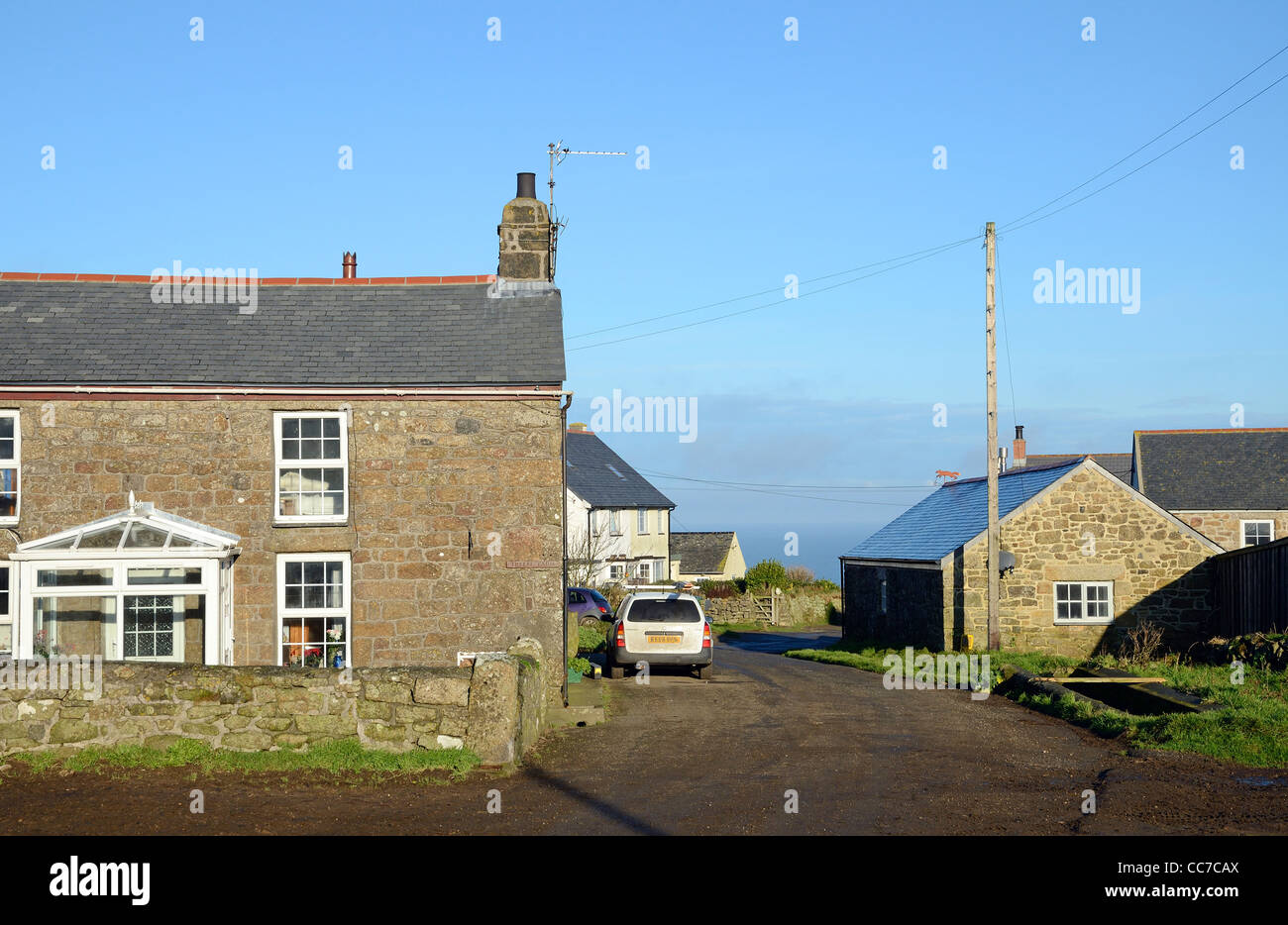 Cottages in the hamlet at gurnards head in cornwall, uk - Stock Image