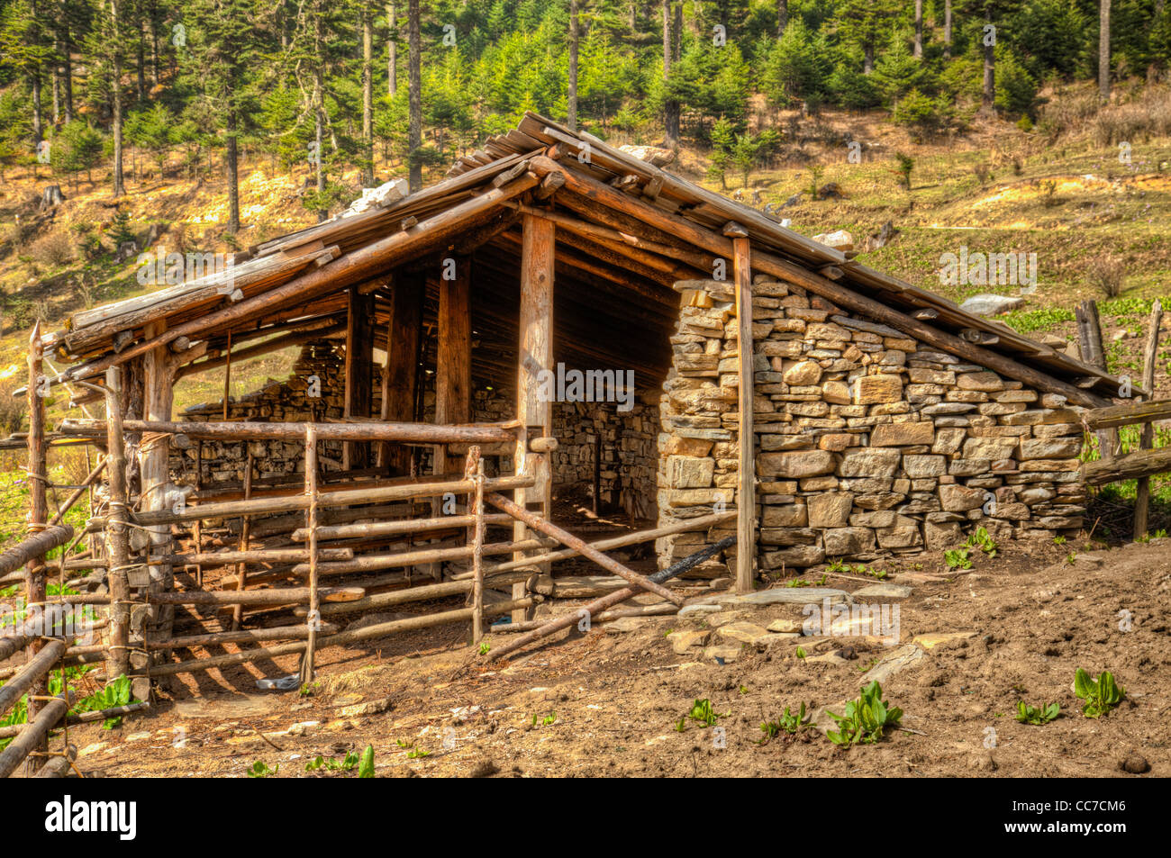 Home of a yak herder in the mountains of Bhutan - Stock Image