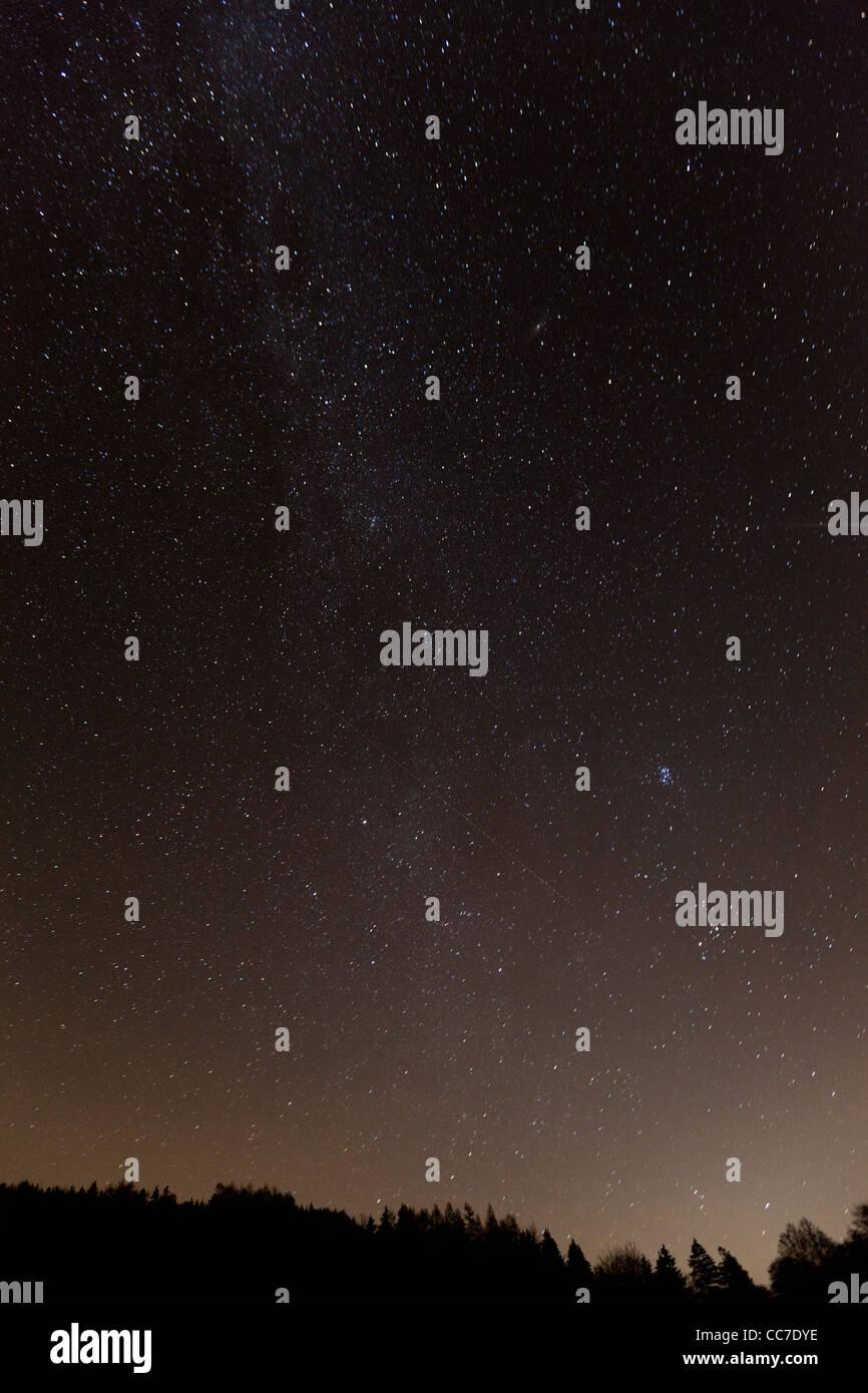 Autumn Night Sky and Stars, Bursfelde, Lower Saxony, Germany - Stock Image