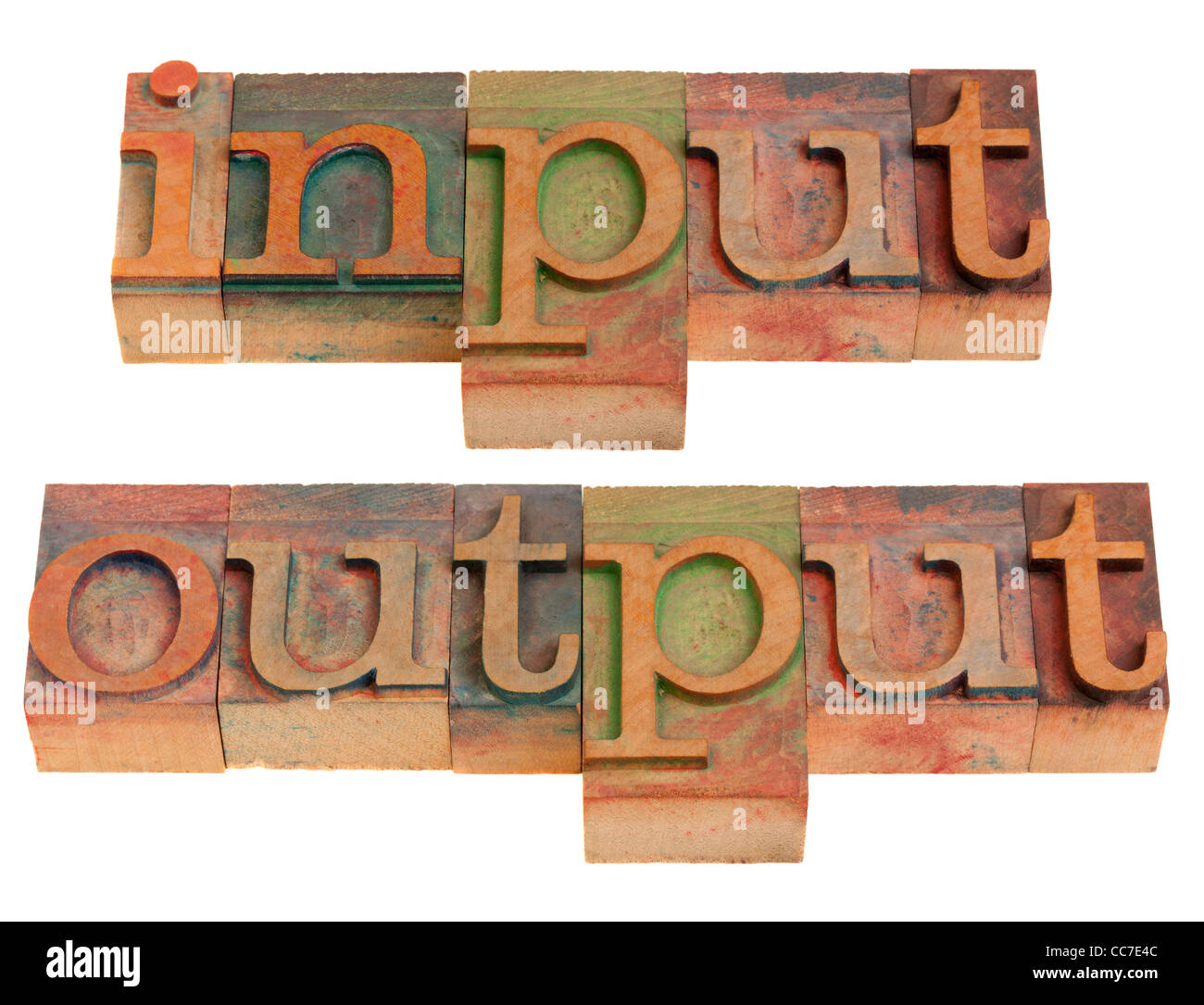 input and output words in vintage wooden letterpress printing blocks isolated on white - Stock Image