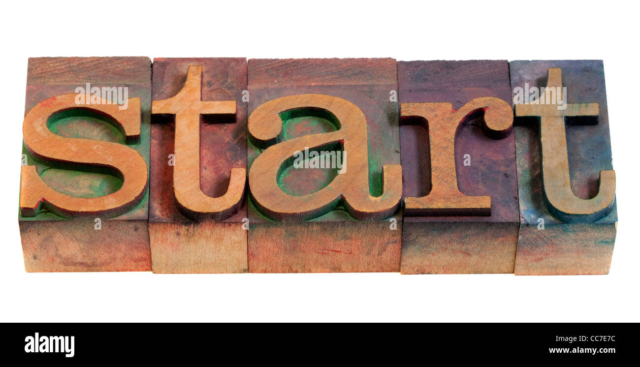 start or beginning concept - word spelled in vintage wooden letterpress printing blocks - Stock Image