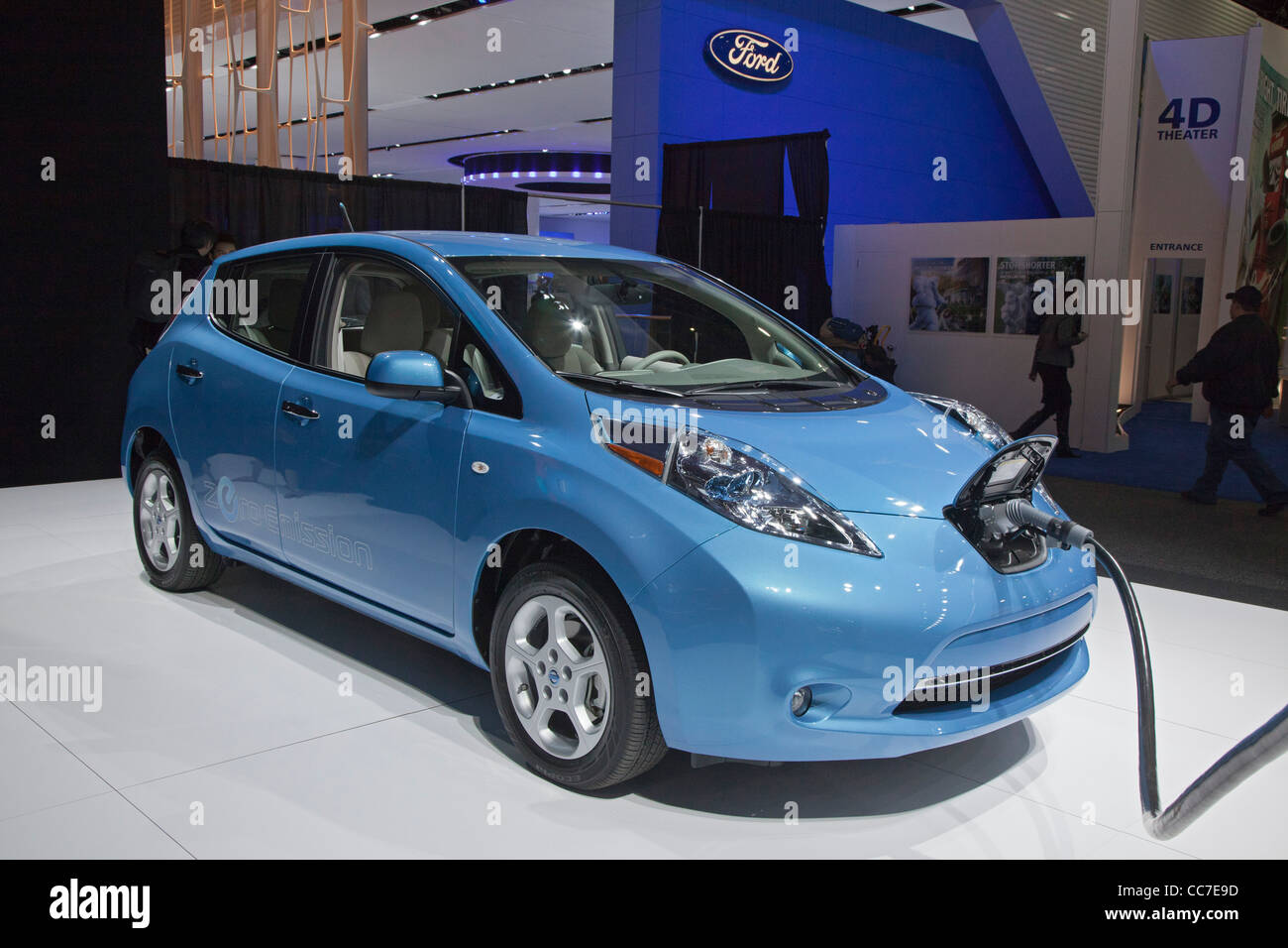 Detroit, Michigan - The Nissan Leaf electric vehicle on display at the North American International Auto Show. - Stock Image
