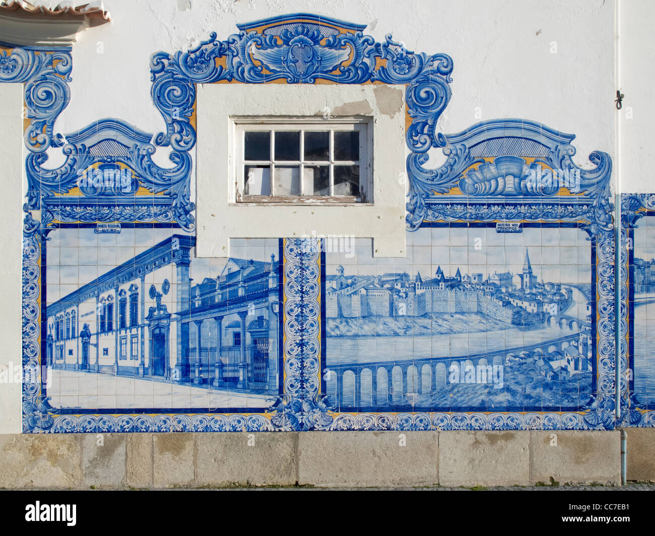 Railway station building with 'azulejos' tiles in Aveiro, Portugal - Stock Image