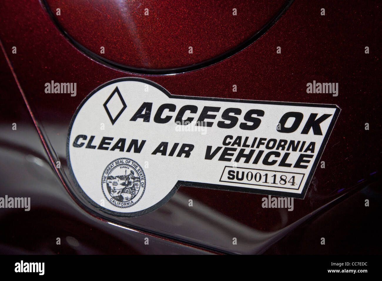 California Clean Air Vehicle Sticker - Stock Image