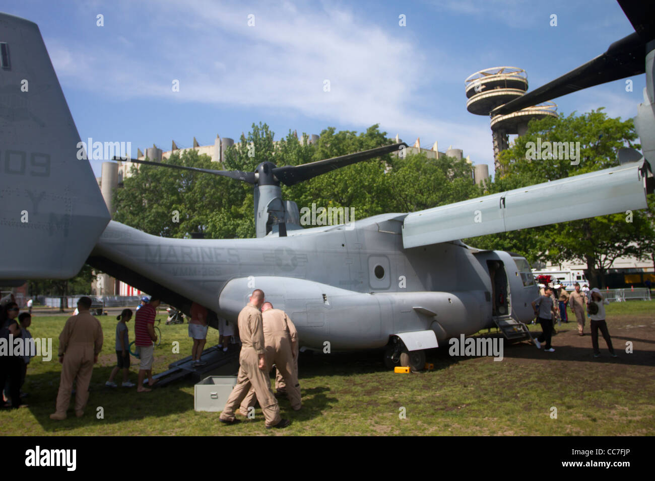A Marine Corps V-22 Osprey open to the public for inspection at Flushing Meadow Park during Fleet Week 2011 in New - Stock Image