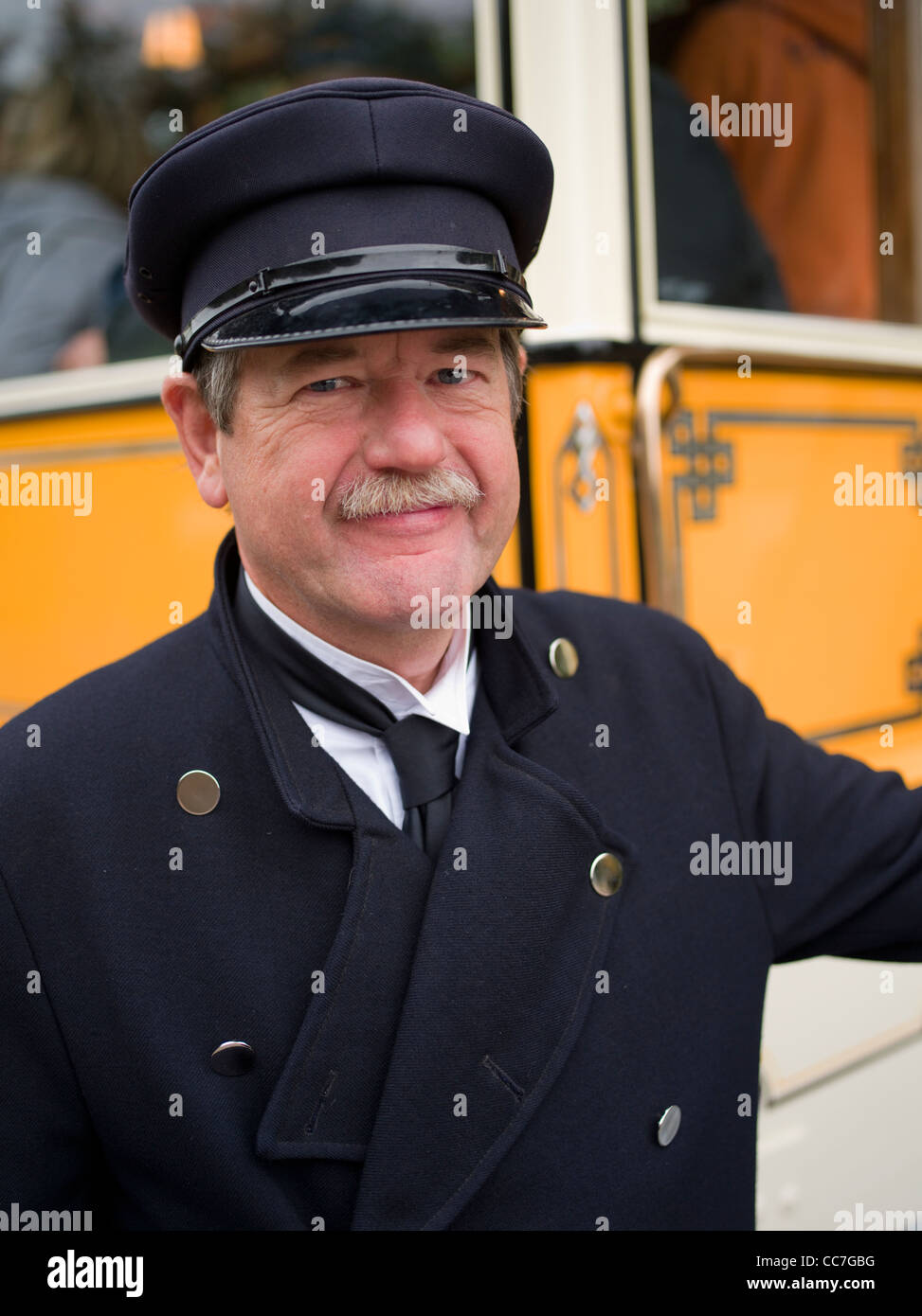Bus conductor at Beamish, The North of England Open Air Museum County Durham ENGLAND - Stock Image
