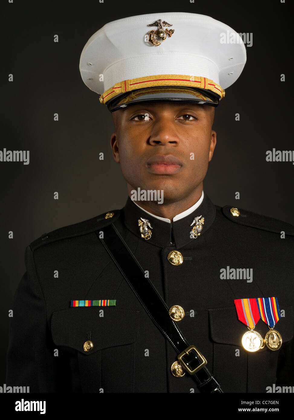 United States Marine Corps Officer In Blue Dress A Uniform Stock