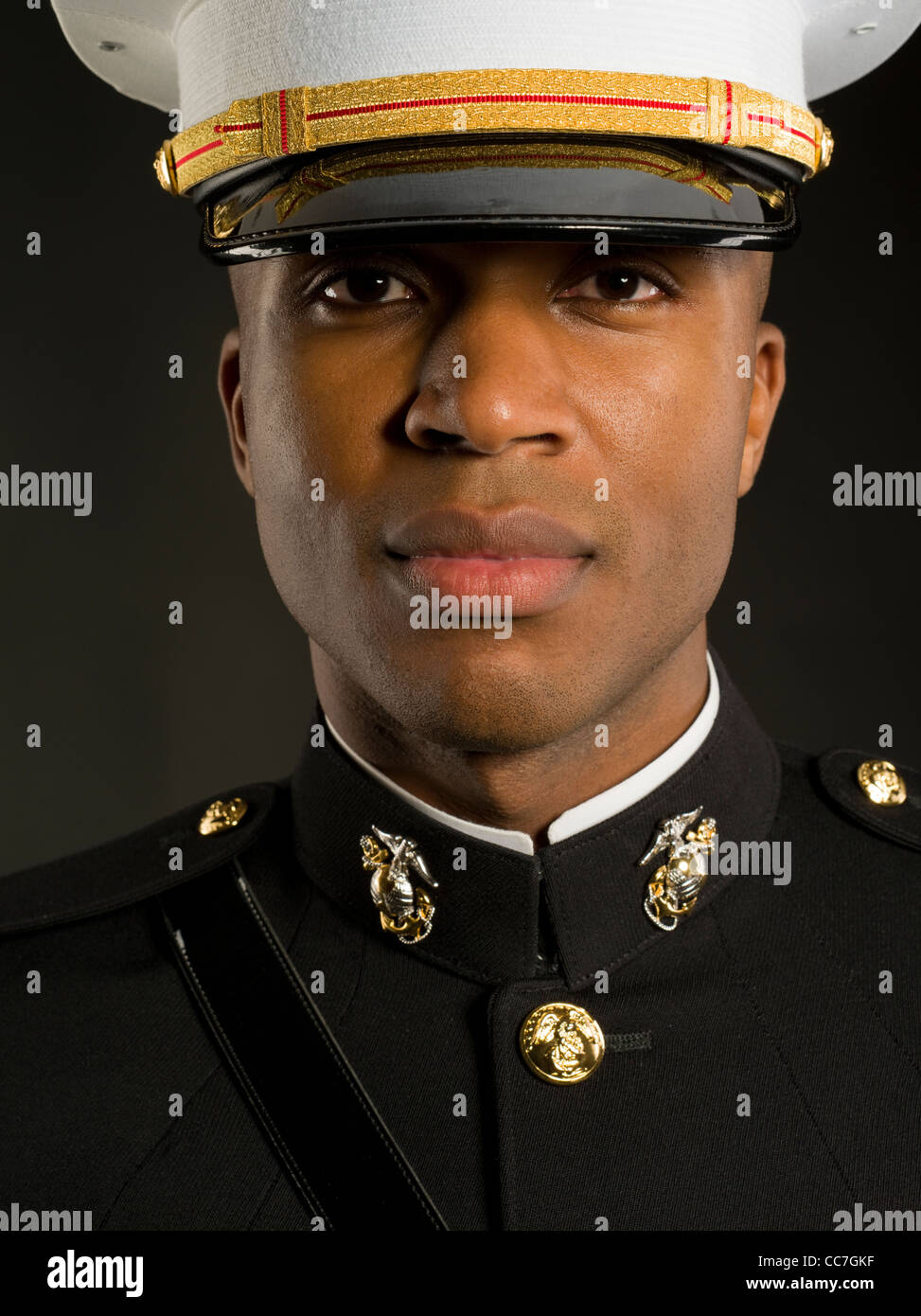 United States Marine Corps Officer in Blue Dress