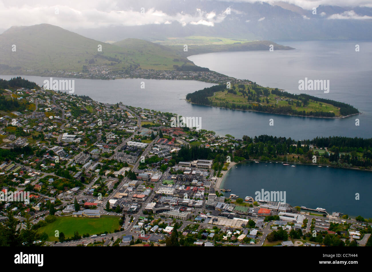 Queenstown seen from the observatory deck on Bob's Peak New Zealand - Stock Image