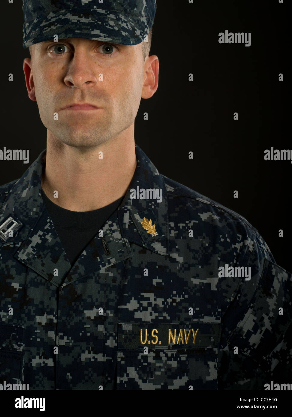 United States Navy Officer in Navy Working Uniform - Stock Image