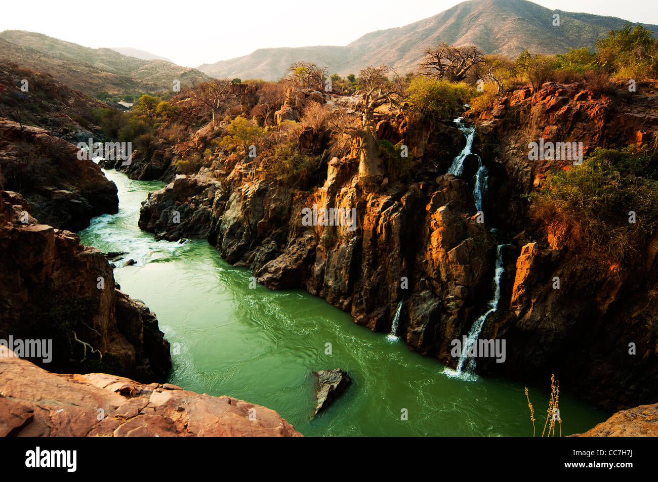 Epupa Falls on the Kunene River, northern Namibia - Stock Image