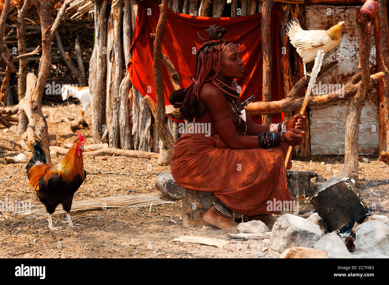 Himba woman cooking in his village near Epupa Falls, Kunene region, Northern Namibia - Stock Image
