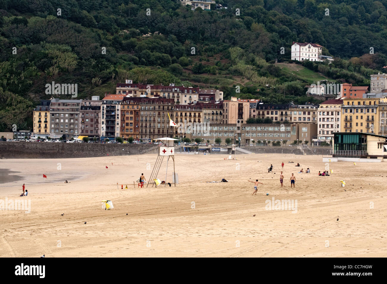 Playa de Zurriola Donostia - San Sebastian Spain - Stock Image