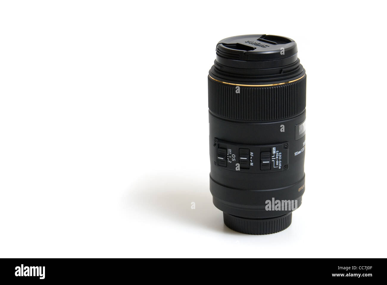 Macro slr lens on white background, photography image. - Stock Image