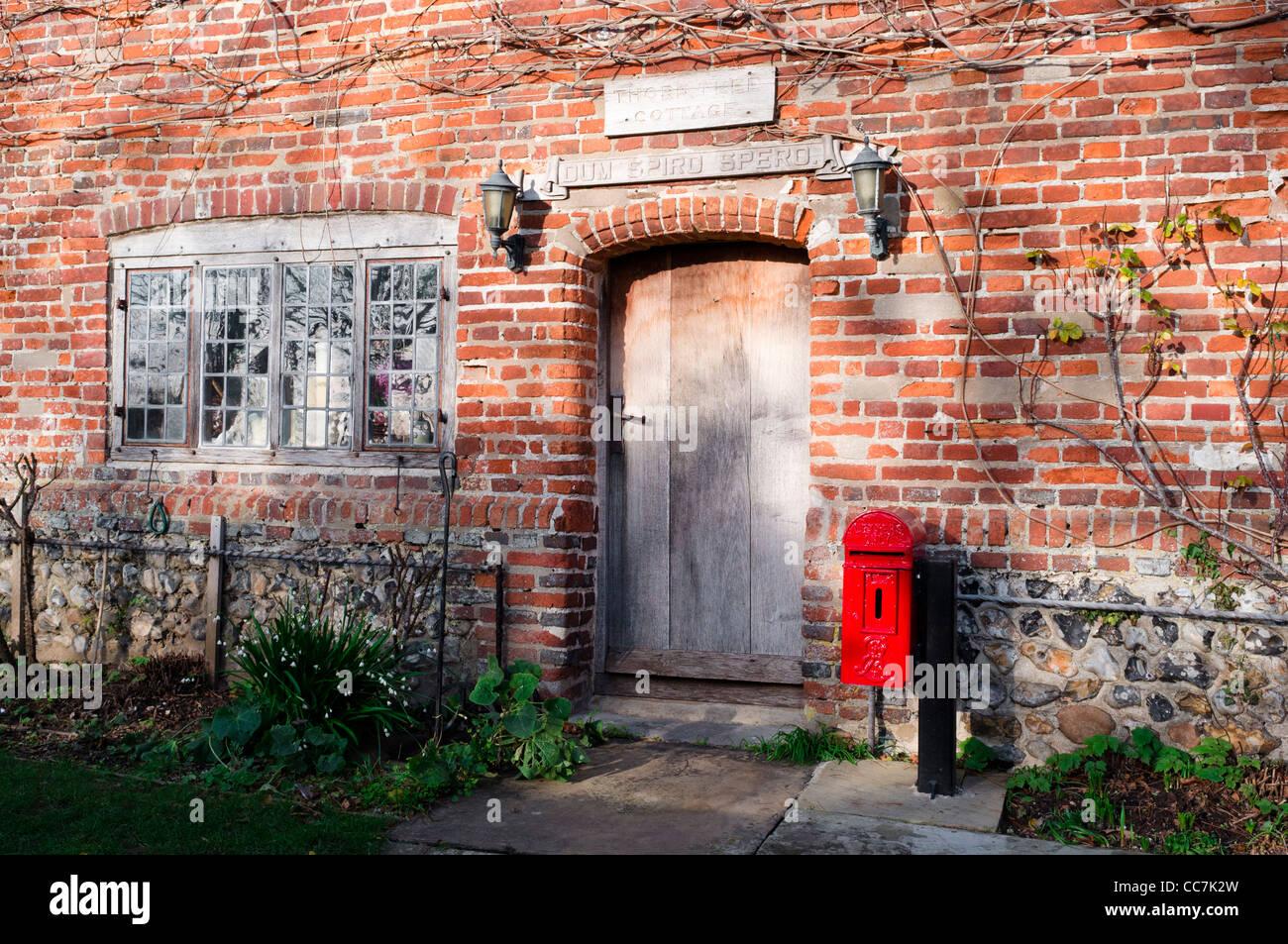 British cottage front door and window - Stock Image