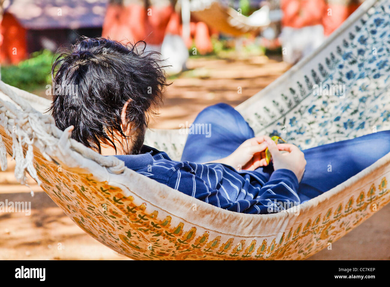 landscape of young man relaxing in a hammock holding dry fallen leaf garden backdrop, crop margins and negative - Stock Image