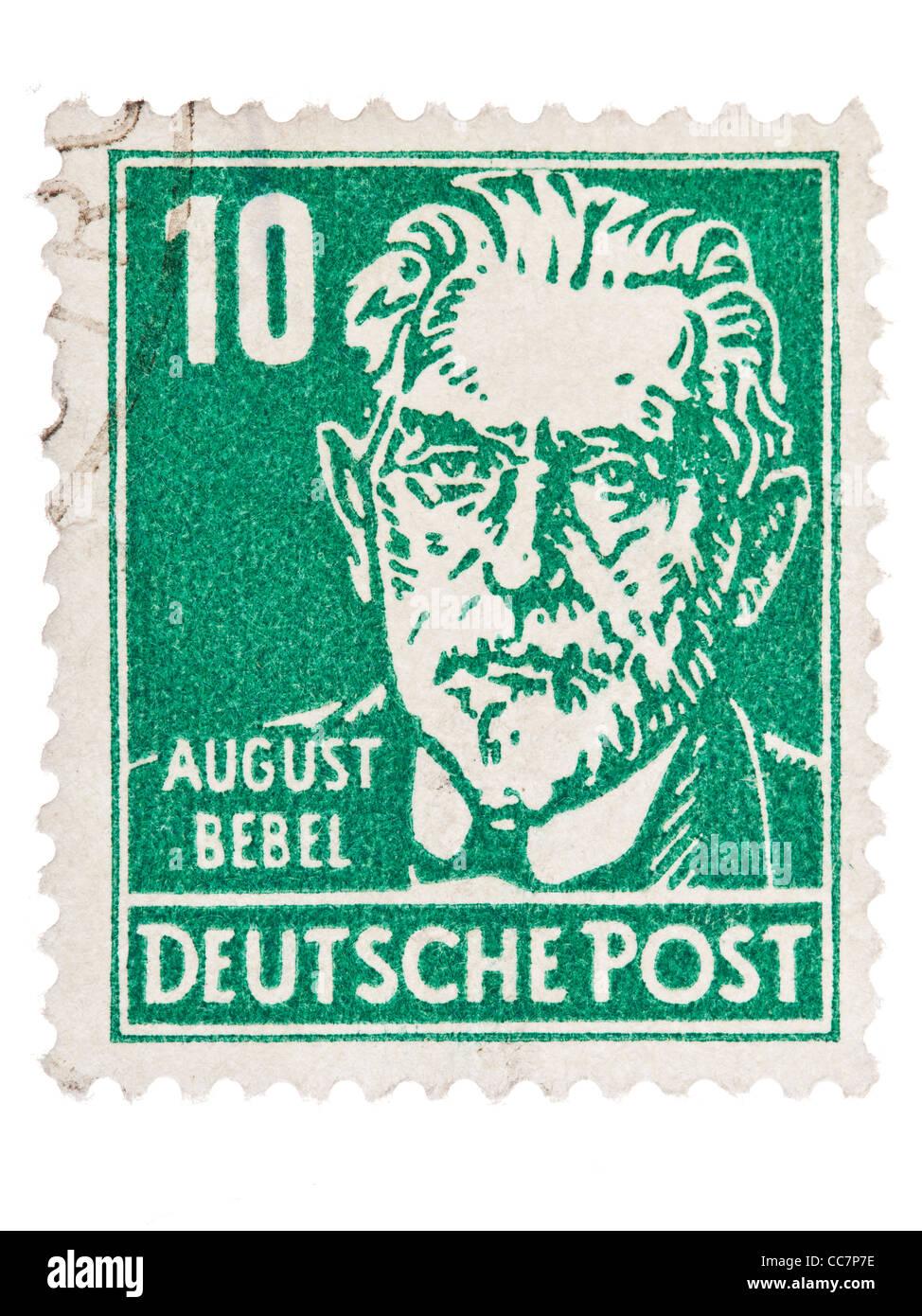 Postage stamp: Deutsche Post, DDR, 1952, August Bebel, 10 Pfennig, stamped - Stock Image