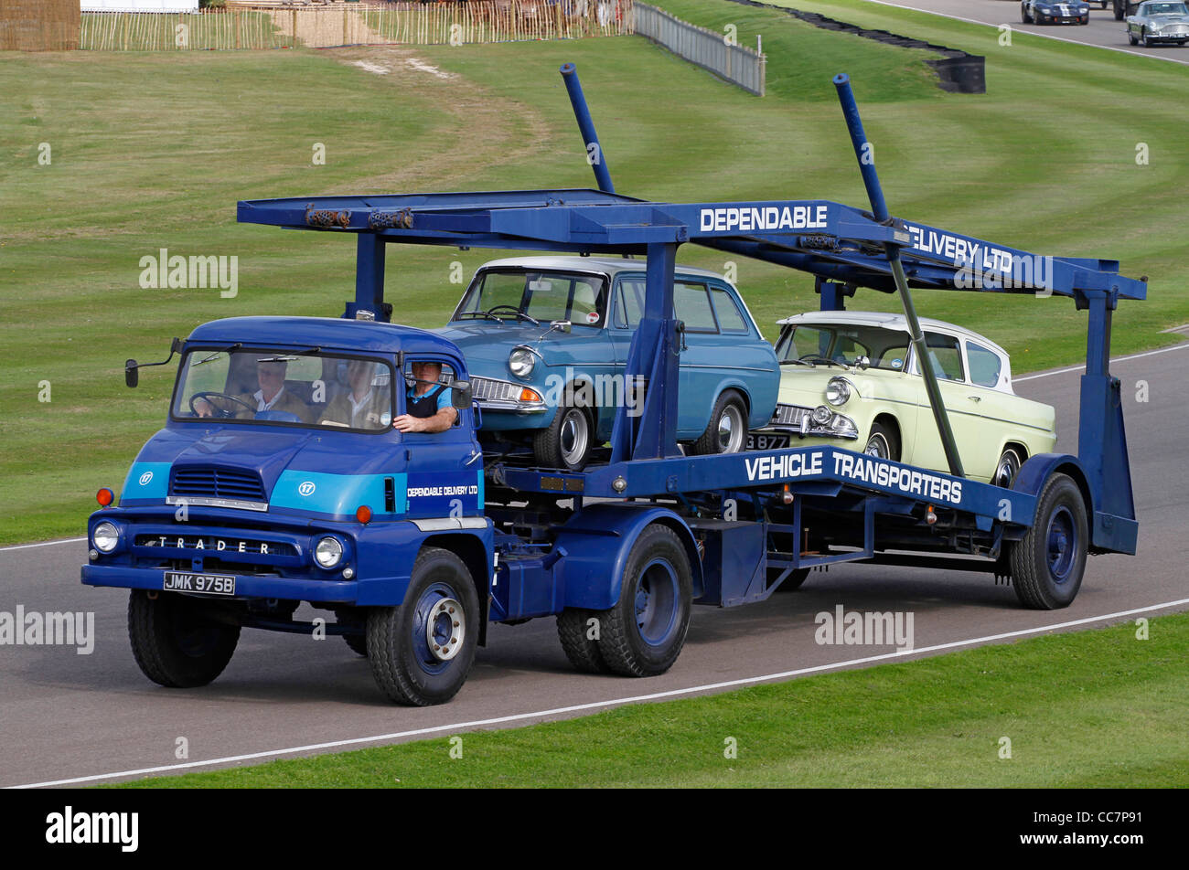 1964 Ford Thames Trader transporter with Ford Anglia's. 2011 Goodwood Revival, Sussex, UK. - Stock Image