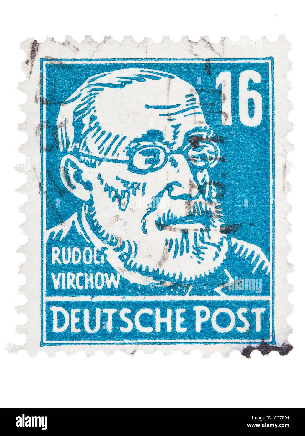 Postage stamp: Deutsche Post, DDR, 1952, Rudolf Virchow, 16 Pfennig, stamped - Stock Image