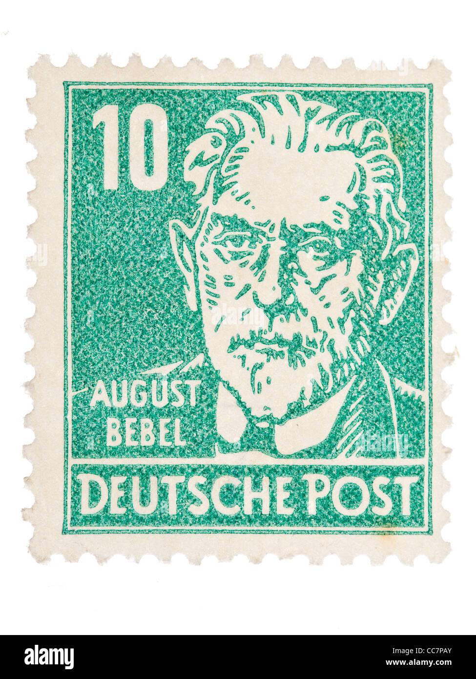Postage stamp: Deutsche Post, DDR, 1952, August Bebel, 10 Pfennig, mint condition - Stock Image