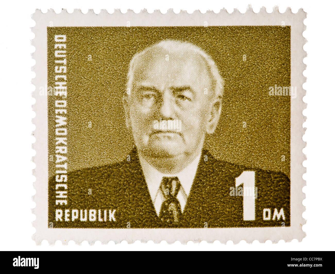 Postage stamp: DDR, 1953/55, Wilhelm Pieck, 1 Deutsche Mark, mint condition - Stock Image