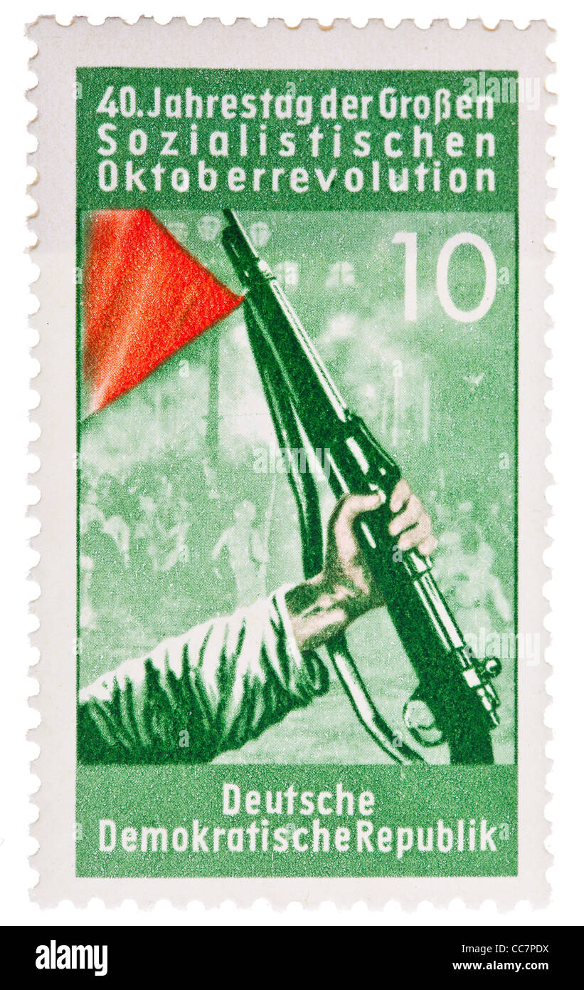 Postage stamp: DDR, 1957, 40th anniversary of the october revolution, 30 Pfennig, mint condition - Stock Image